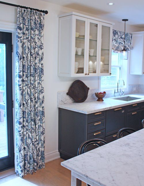 Kitchen by Cameron MacNeil with Aya Kitchens. Drapes and valance .