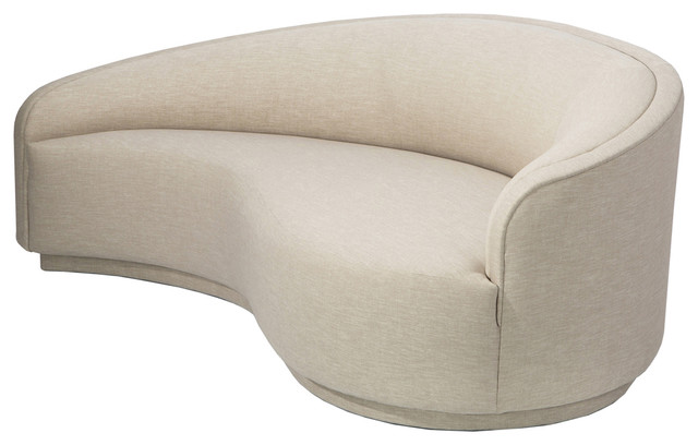 Reese Modern Classic Plush Beige Curved Leather Sofa, Left Arm .