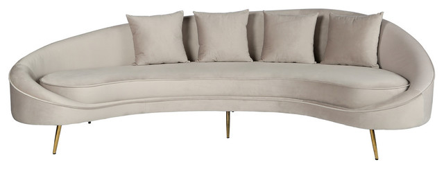 Cleo Curved Sofa, Light Gray - Midcentury - Sofas - by Statements by