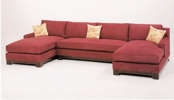 CL-1059 Sectionalc 3 pc custom sectional sofa with wood trim base .