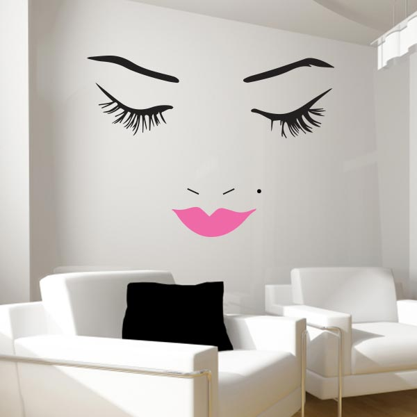 Beautiful Face Wall Decal   Lips Wall Decals   Wall Decal Wor