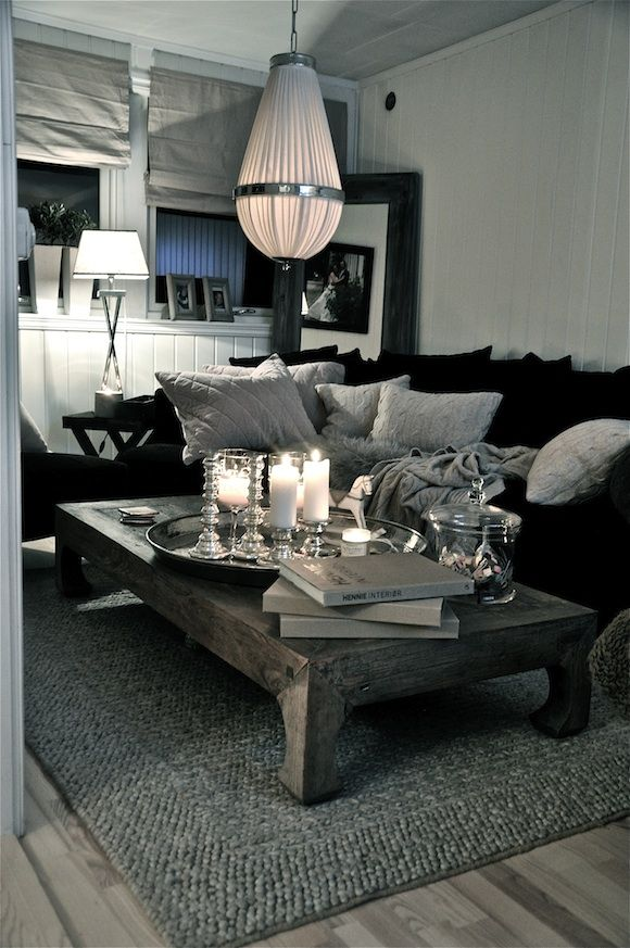 Grey, black and white. Simple and stunning. | Black furniture .