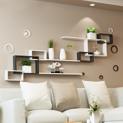 Wall shelf wall cabinet living room television background .