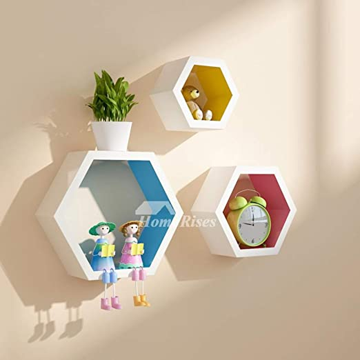 Amazon.com: My Aashis Decorative Wall Shelves Hexagon Wooden .