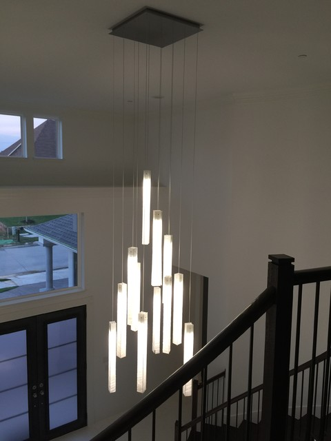 CUSTOM ART DESIGNER LIGHTING, CONTEMPORARY LED CHANDELIER WHITE .