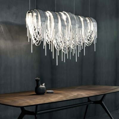 Designer Lighting Chain Hanging Large Linear Pendant .