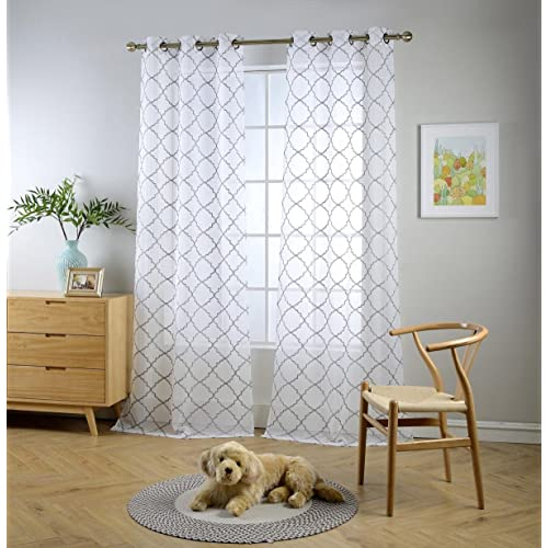 Sheer Curtains with Designs: Amazon.c