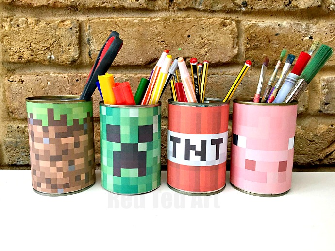 Minecraft Desk Tidy DIY (Printables) - Red Ted A