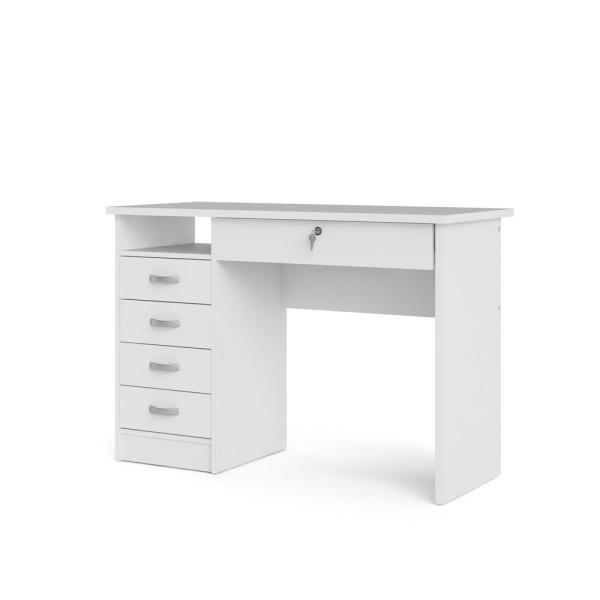 Tvilum Walden White Desk with 5-Drawers 801634949 - The Home Dep