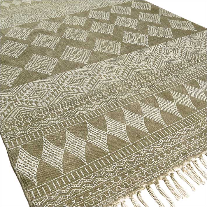 Green Cotton Block Print Accent Area Boho Dhurrie Rug Hand Woven .