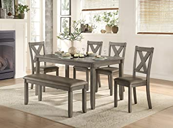 Amazon.com - Homelegance 6-Piece Pack Dinette Set, Gray - Table .