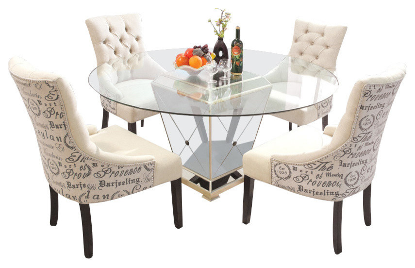 5-Piece Round Glass Dinette Set, Mirror Base With Antique Bronze .