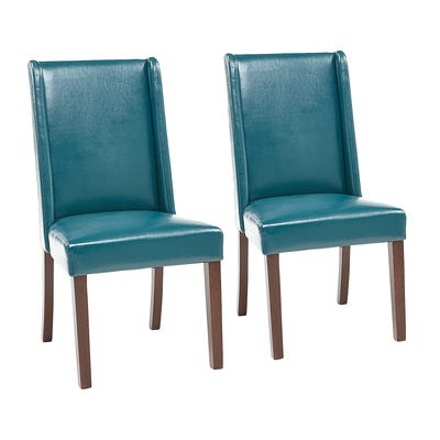 Oliver Teal Faux Leather Dining Chair Set of 2   Pier
