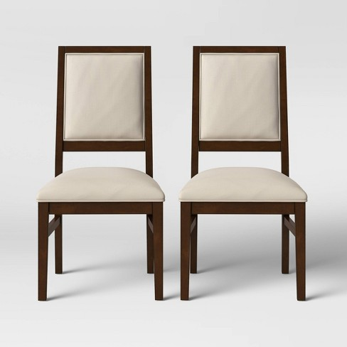 2pk Damestown Square Back Wood & Upholstered Dining Chair Natural .