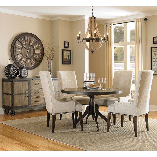 Walton Round Dining Room Set W/ Upholstered Chairs Magnussen .