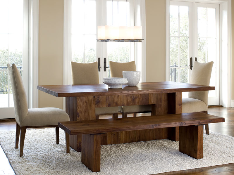 Practical bench dining room sets for large families | Dining .