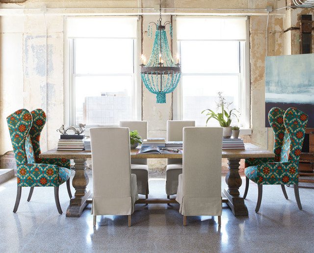 Natural Dining Table & Upholstered Dining Chairs - Eclectic .