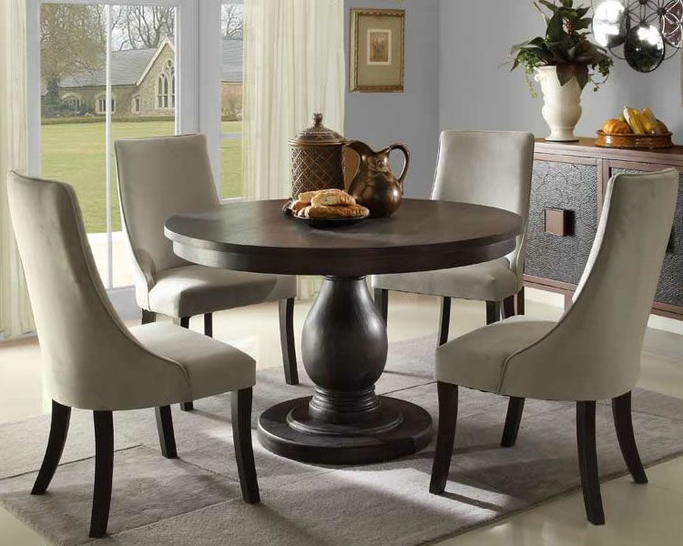 solid pedestal round table with upholstered chairs   Round .