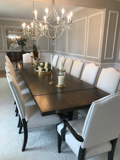 Extra Long Dining Table with Upholstered Chairs - Dining Room .
