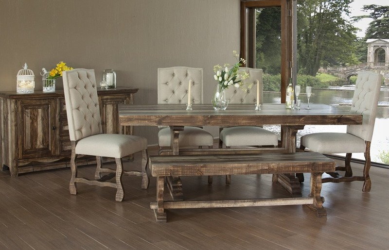 Marquez Rustic Dining Room Set with Upholstered Chai