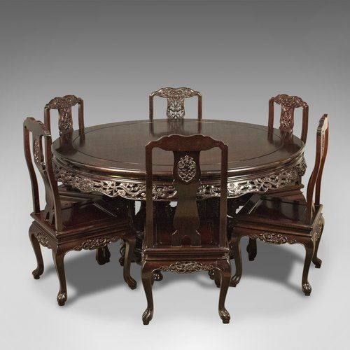 Oriental Rosewood Dining Table And Set Of 6 Chairs in 2020 .