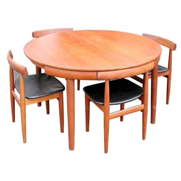 Danish Nesting Chairs and Dining Table | Timber dining table .