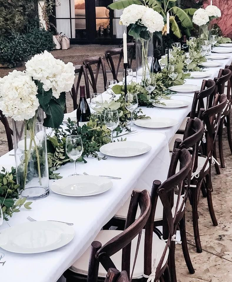 Beautiful wedding rehearsal dinner table set up in this .