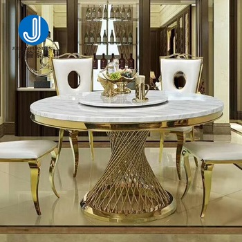 White Marble And Gold Stainless Steel Dining Table Round Dinner .