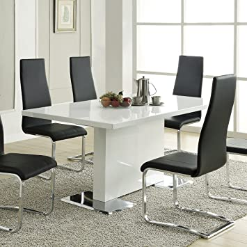 Amazon.com - Nameth Dining Table with Metal Base Glossy White - Tabl