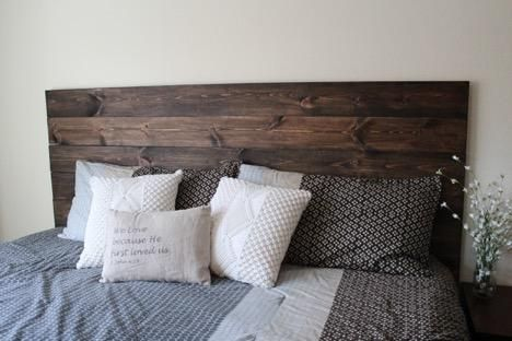 DIY How To Make Your Own Wood Headboard | Rustic wooden headboard .