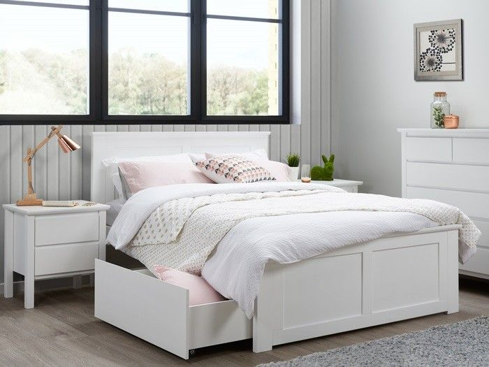 Modern hardwood white double beds with storage. Contemporary kids .