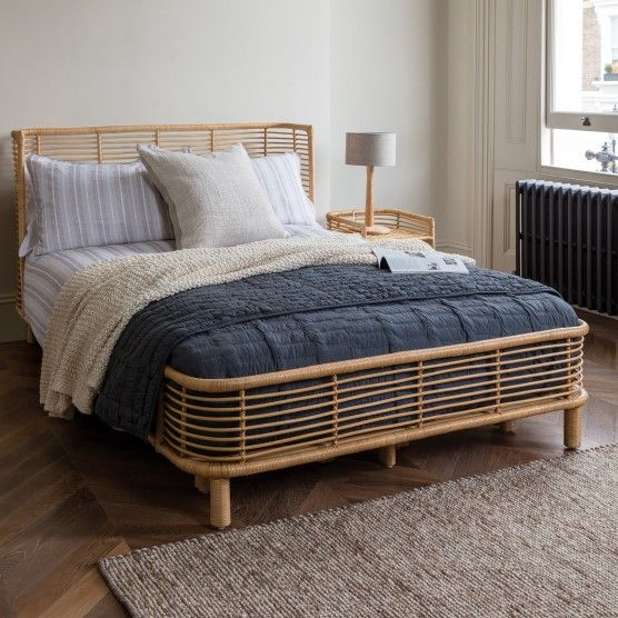 NADIA Natural handwoven rattan double bed frame 135cm in 2020 .