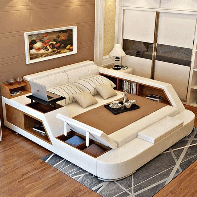 bedroom furniture sets modern leather queen size double bed frame .