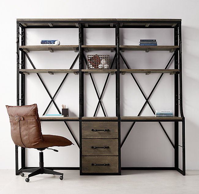 French Library Double Desk With Drawe