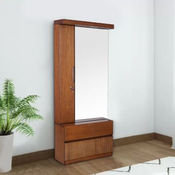 Buy Mystique Solid Wood Dressing Table With Mirror in Walnut .