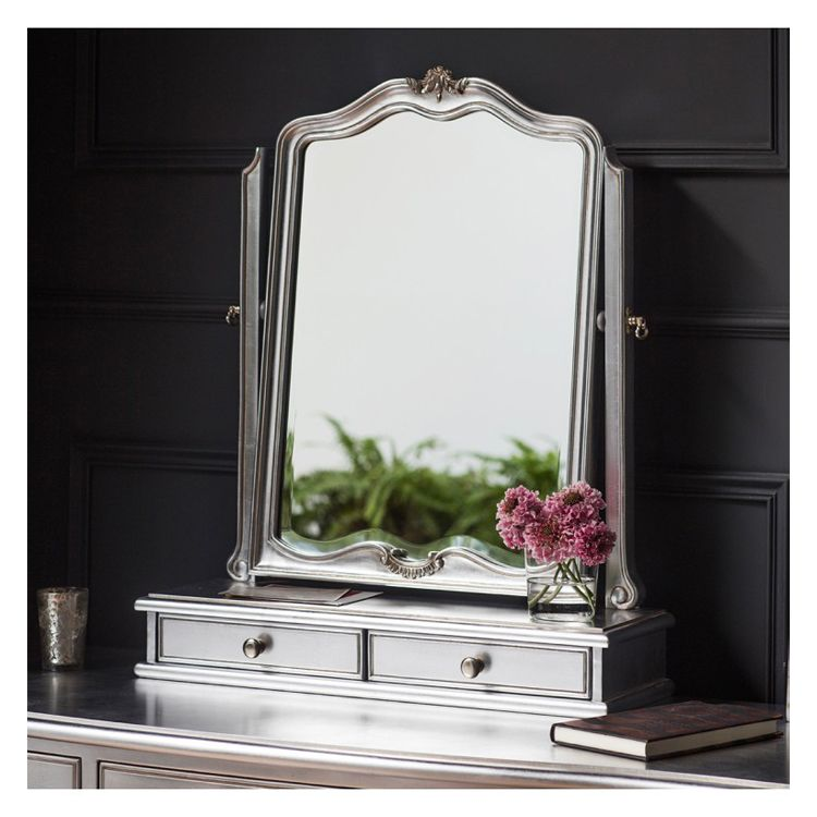 Silver Dressing Table Mirror with Drawers 60x73cm | Exclusive Mirro