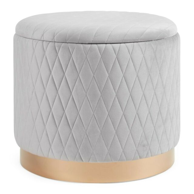 Dressing Table Stool Quilted Bedroom Storage Pouffe Velvet Round .