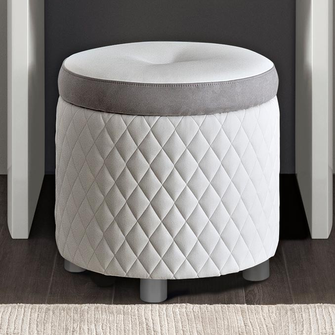 Bianca White Stitched Eco Leather Dressing Table Stool : F D .