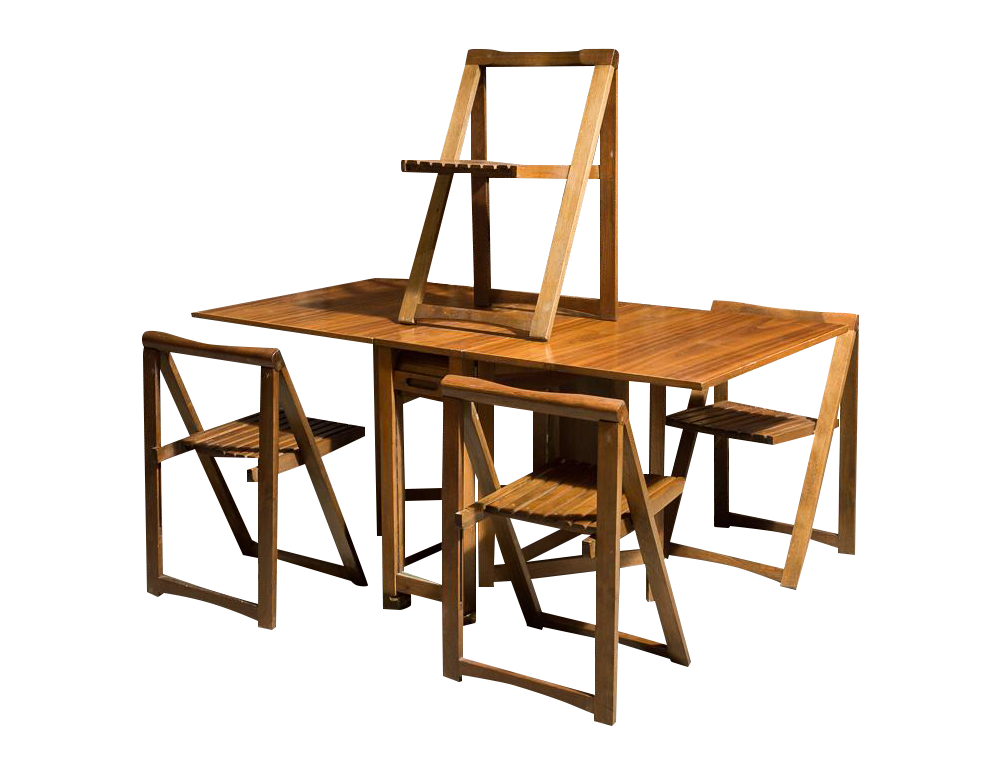 Drop leaf dining table. The four folding chairs can be stored .