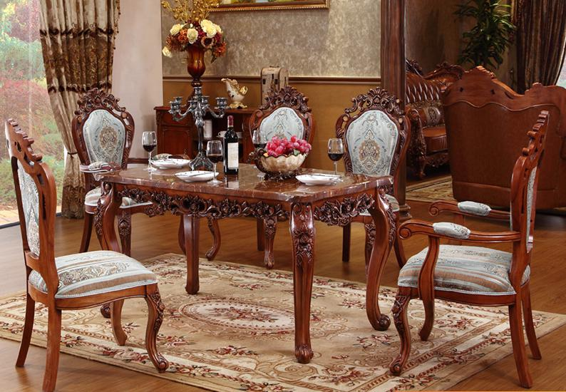 Elegant Dining Table, Marble Table, High Grade Solid Wood Carving .