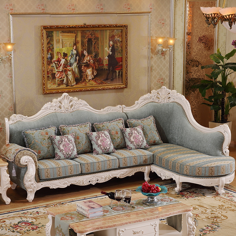 antique design Elegant European Style Corner Fabric Sofa,living .