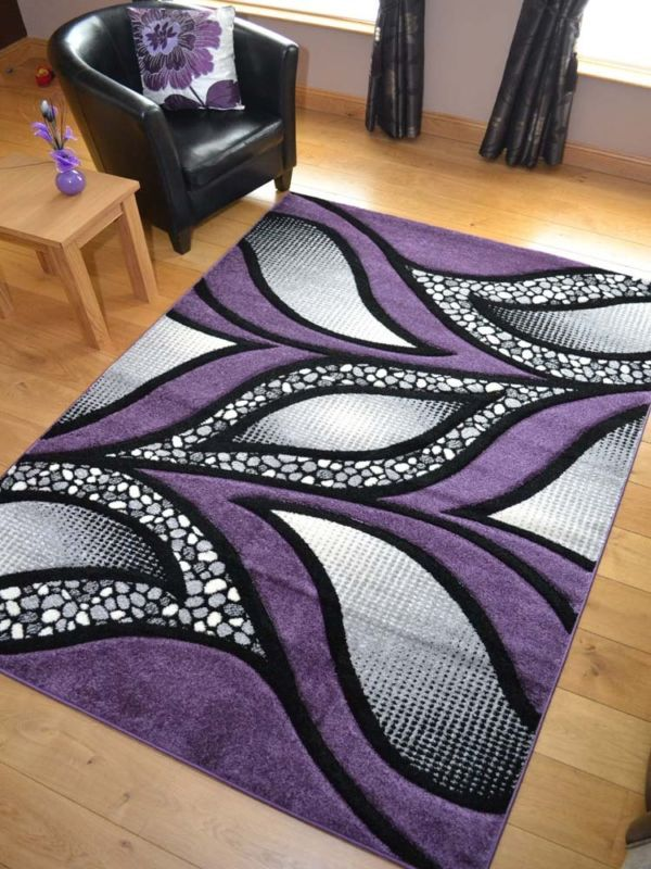 New Small Extra Large Huge Purple & Silver Black Thick Carved Rugs .