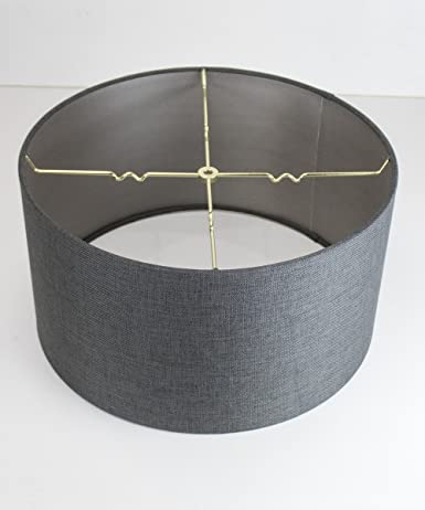 18x18x10 Granite Grey Burlap Shallow Drum Lampshade with Brass .