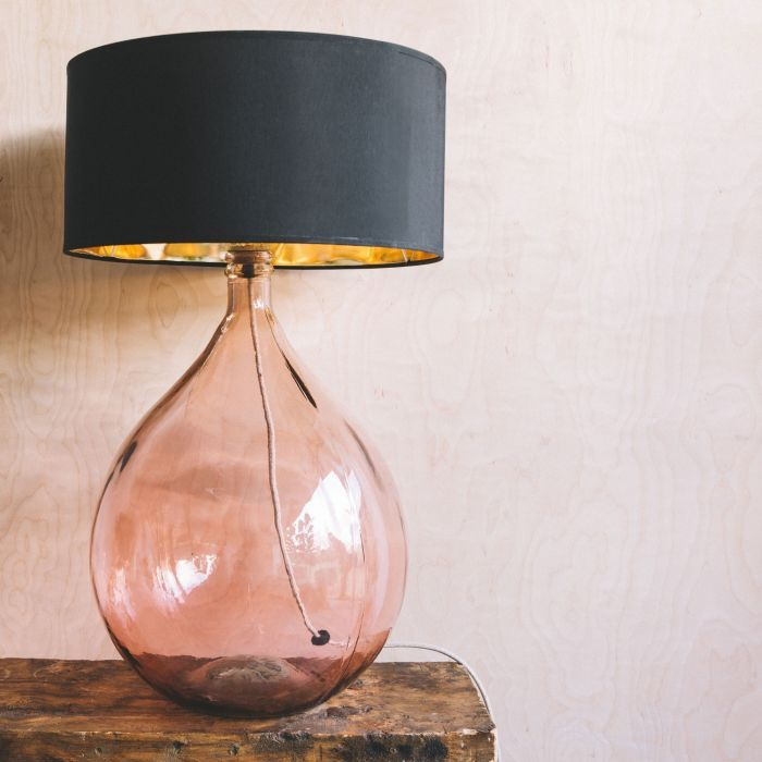 Extra Large Round Pink Glass Lamp in 2020 | Glass lamp base, Pink .