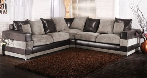 San Diego Large Mixed Fabric Corner Black And Grey - High Quality .