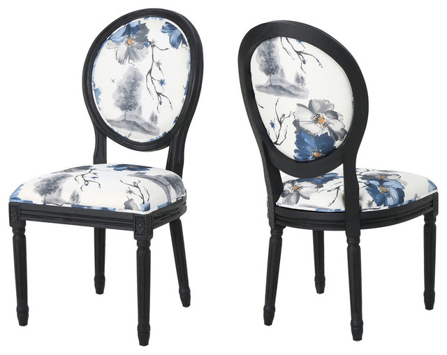 GDF Studio Babbs Traditional Fabric Dining Chairs, Set of 2 .
