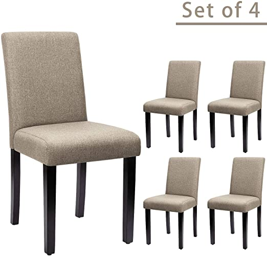 Amazon.com: Furniwell Dining Chairs Fabric Upholstered Parson .