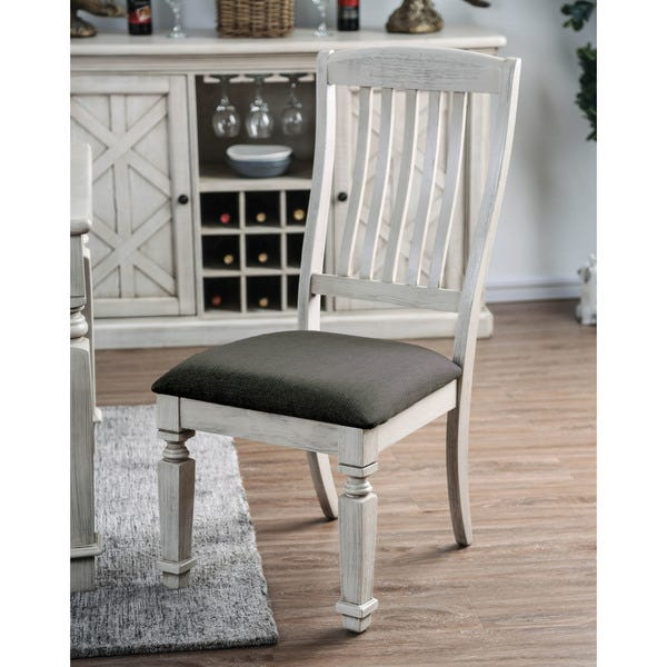 Shop Furniture of America Hish Rustic White Fabric Dining Chairs .