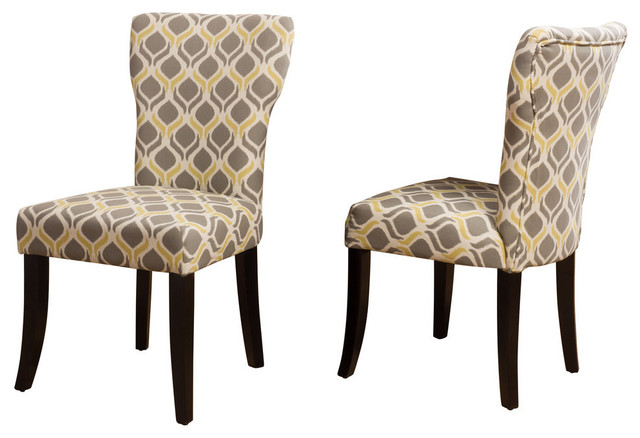 GDF Studio Kalee Light and Navy Blue Print Fabric Dining Chair .