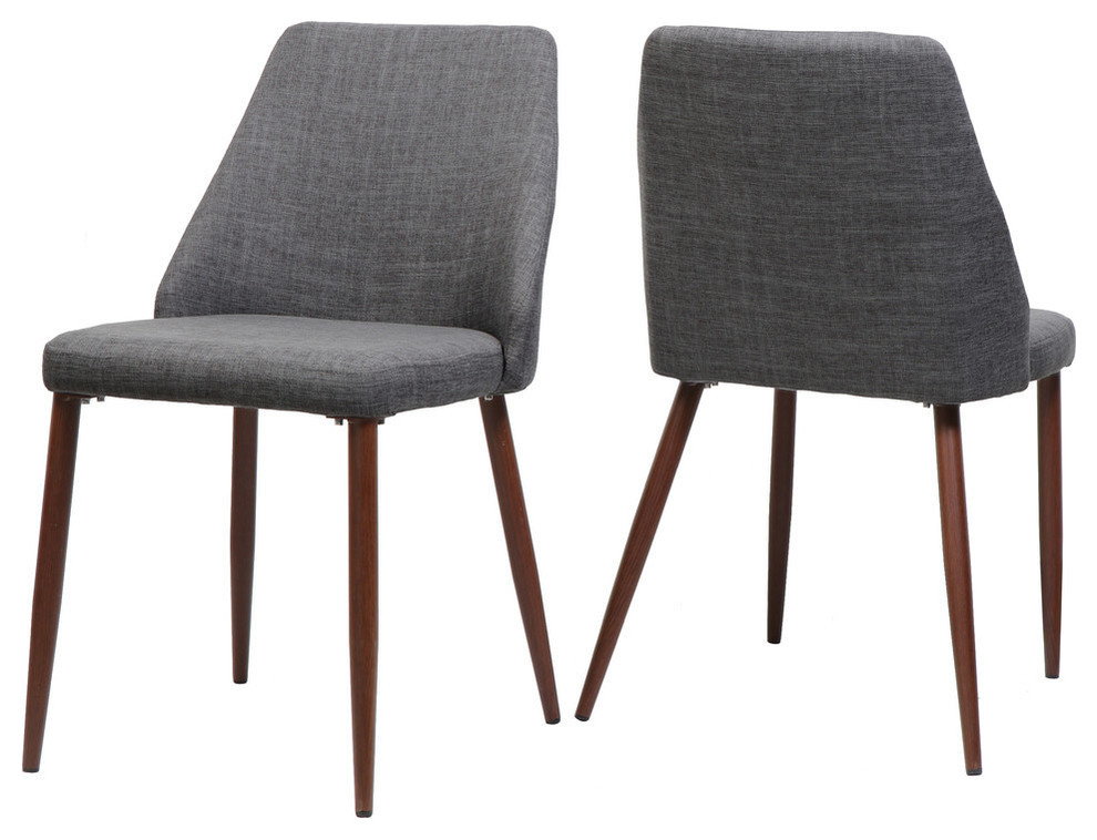 GDF Studio Mable Fabric Dining Chairs With Wood Finished Legs, Set .